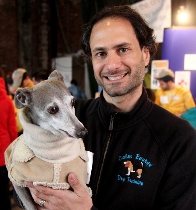 New York dog trainer Anthony Newman (with one of his many students)